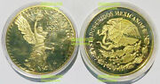 Mexico Eagle Snake 2010 Liberty Gold Plated 41mm Magnetic Medal Proof Unc 1pcs