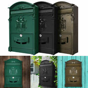 Large Vintage Mailbox Wall Mount Post Box Outdoor Locking Letter Post Box Mail +