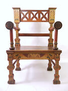 Antique-vintage Hand-decorated Mediterranean Festival Or Theater Prop Arm Chair