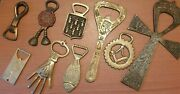 Lot Of 9 Brass Antique Moroccan And Egypt Handmade Bottle Openers 1876-1965