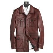 Menand039s Real Leather Hunting Jacket Windbreaker Mid Long Casual Cowhide Coat 4xl L