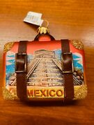 Nordstrom Travel Suitcase Mexico Glass W/leather Straps Christmas Ornament 2018