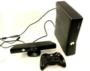 Xbox 360 S 4gb Black Console W/one Controller And Kinect Motion Sensor Tested