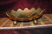 Vintage Solid Brass Thick Scalloped Oval Footed Ball Design Bowl Planter 13 1/2