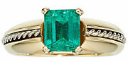 Natural Emerald Solitaire Ring Vivid Green Aaa 1.00 Ct 7 X 6 Mm 14k Gold