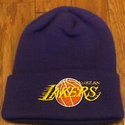Brand New Without Tags Vintage Rare Los Angeles Lakers Skully Beanie Skull Cap