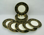12 Royal Worcester Bailey Banks Biddle C995 8 7/8 Luncheon Plates Gold Black