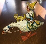 Marx Antique Mother Goose W/ Cat Galloping Goose Wind Up Tin Toy