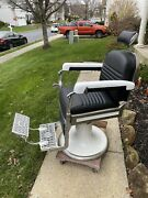 1950s Barber Chair Koken Restored New Upholestry - Works Perfectly