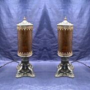 Pair Rare Antique Table Lamps With Amber Cracked Style Shades Rewired Set 107c