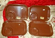 4 Vintage Rubbermaid Brown Melamine Trays 3850 Cafeteria Lunch Snack Food Nwt