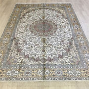 Yilong 6and039x9and039 Handknotted Silk Carpet Dining Room Oriental White Area Rug L090c