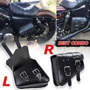 2 Black Motorcycle Pu Leather Side Saddlebags For Harley Sportster Xl883 1200 Us