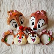 Chip And Dale Headband Pass Case 6 Set Tokyo Disney Ear Hat Coin Used F/s Rsmi