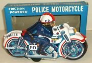 1960s Japan Tin Litho 9 Police Motorcycle Friction Motor Mib Nos Dime Store Toy