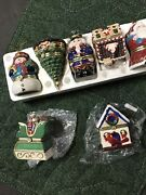 Lot 7 Mr. Christmas Porcelain Hinged Music Box Ornaments Animated Motion Vg Cond