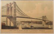 Rare Currier And Ives Brooklyn Bridge Large Folio Lithograph 1886 Great Suspension