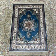 Yilong 2and039x3and039 Blue Handknotted Silk Area Rug Home Decor Tapestry Carpet Hf138b