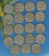1927 X 19 Coins Canadian 5 Cent Lot