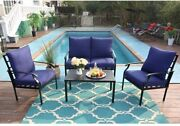 Patio Furniture Set Of 4 Outdoor Chairs Sofa With Cushion Side Table Pillows