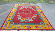 Huge Antique Art Deco 30and039s Nichols Chinese Flower And Vase Red Rug 11.5and039 X 8.75and039