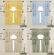 Country Farmhouse Solid Colored Kitchen Curtain Tier/swag Set - Assorted Colors
