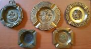 Lot Of 5 Antique Rare Brassandcopper Ashtrays Big And Small For Cigar And Cigarette