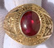 1955 Circa 10k Yellow Gold And Red Stone Loyola Chicago University Ring