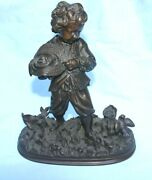 A Very Fine 19 Century Bronze Statue Of The Young Boy W Chickens And Birds