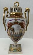 A Very Fine Dresden Antique German Fine Hand Painted On Porcelain Cover Urn
