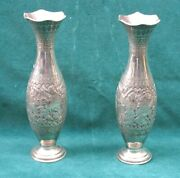 Ali Baba Pair Fine 84 Sterling Silver Middle Easter 111/2 H Vases
