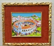 A Magnificent Dutch Oil On Board Painting Of Bullring By F.breebaart  Rare