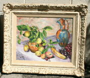 A Fine Still Life Fruit And Wine Vintage Painting Signed By Vicki