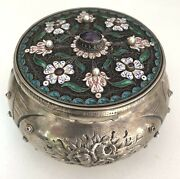 An Important 19th Century Austrian Sterling Silver Enamel Pearl And Amethyst Box