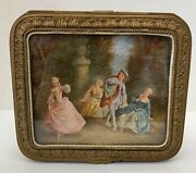 An Important French Gilt Bronze 19 Century Box With Figurine Hand Painting