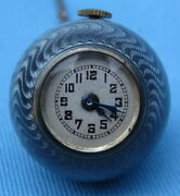 Antique Swiss Enamel And Sterling Silver Ball Watch With Chain Magnificent
