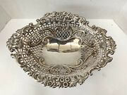 Fine 1897 Birmingham Sterling Silver Oval Reticulated Basket By Levi And Salaman