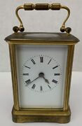 French Antique Brass And Beveled Glass Carriage Clock Very Rare