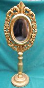 Italian Vintage Carved Wooden Gold Leaf Mirror On Stand