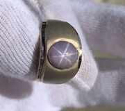 Magnificent 14k White Gold And Purple Six Rayed Star Sapphire Vintage Ring