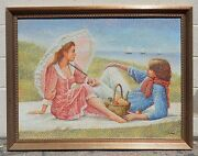 Magnificent Old Signed On Canvas Painting Of The Young Couple By The Beach