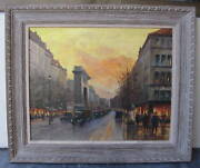 Parisian Scene Of Faubourg Honore Oil On Canvas Signed Magnificent