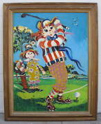 Paul Blaine Henrie 1969 Ann And Andy Raggedy Playing Golf Fine Painting