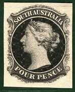 South Australia State Qv Stamp 4d Die Proof 1867 Perkins Bacon Rare B2white1
