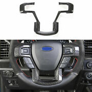 For Ford F150 F-150 2015-2020 Real Carbon Fiber Steering Wheel Strip Cover Trim
