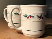 Pair 2 Coffee Cups Mugs Longaberger Pottery Ivory Holly Motiff Holiday Christmas