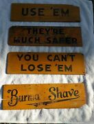 4 Antique Burma Shave Wooden Road Signs Yellow And Black 1937,40 X 11,with Book