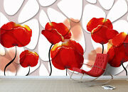 3d Red Flower 1724na Wallpaper Wall Mural Removable Self-adhesive Fay