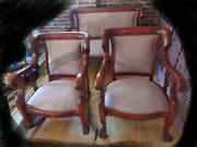 Antique Mahogany Empire Parlor Set Settee Armchair Rocking Chair