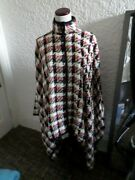 Evan Picone Plaid Button Front Poncho Nwt One Size Fits All